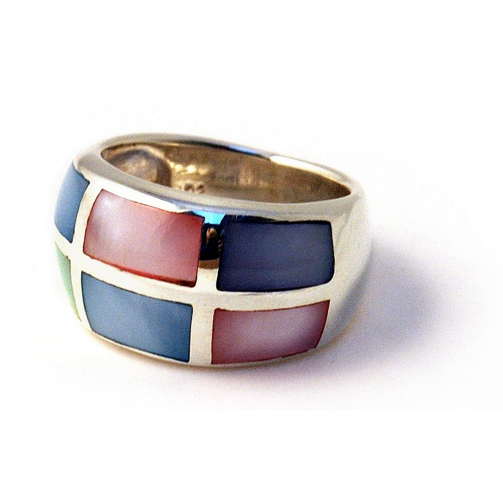 Ring Multi 6 Rectangle Made With 925 Silver & Shell by JOE COOL