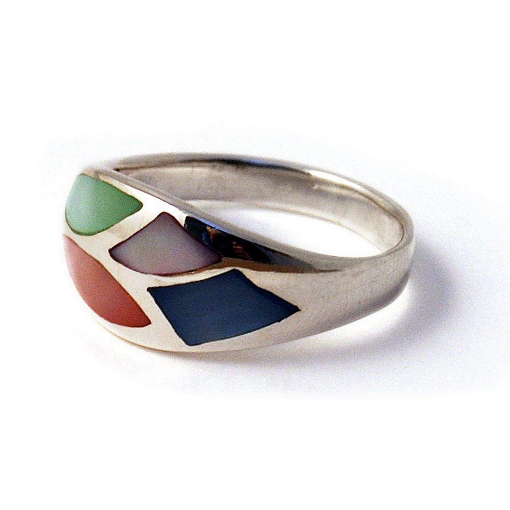 Ring Multi 4 Shapes Made With 925 Silver & Shell by JOE COOL