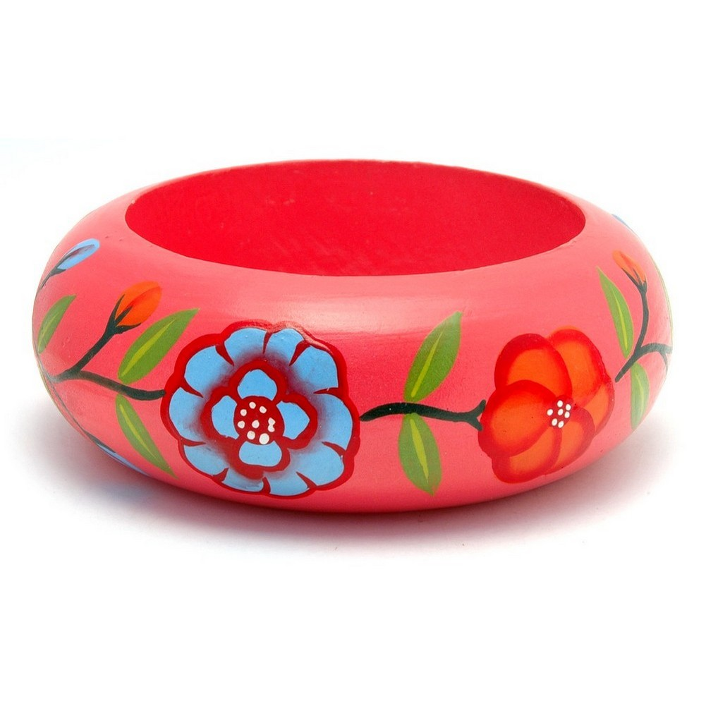 Bracelet Painted Flower & Leaves 32mm Made With Wood by JOE COOL