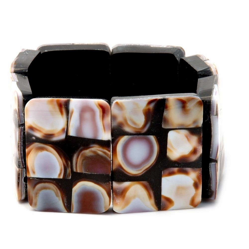 Bracelet Abstract 30x26mm Rectangle Made With Resin & Shell by JOE COOL
