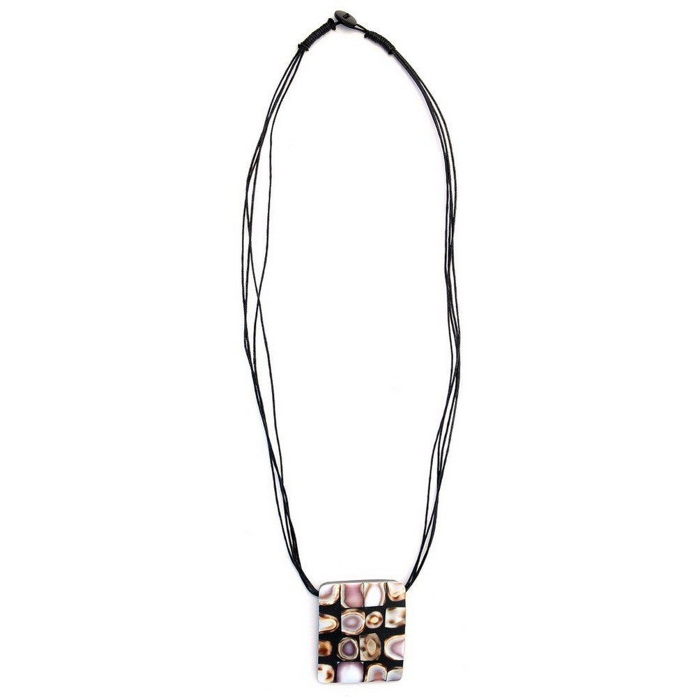 Necklace Abstract 52x45mm Rectangle Made With Resin & Shell by JOE COOL