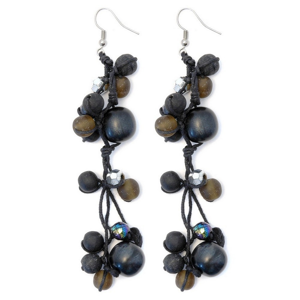 Drop Earring Silver Facet & Black Bead 12cm Made With Wood & Resin by JOE COOL