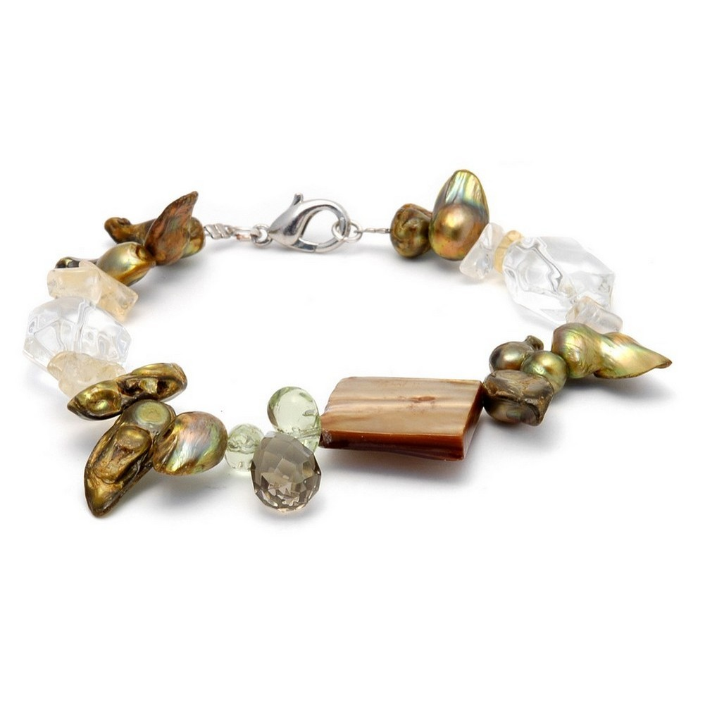 Bracelet Clear & Green With Gold Squares Made With Stone & Shell by JOE COOL