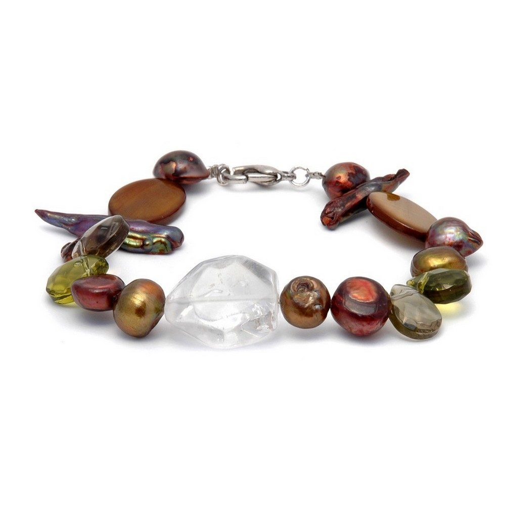 Bracelet Green & Clear Gold Oval Shell Made With Stone & Shell by JOE COOL