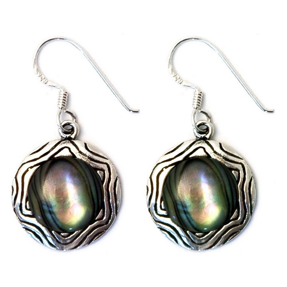 Drop Earring Circle With Outer Swirl Made With 925 Silver & Paua Shell by JOE COOL