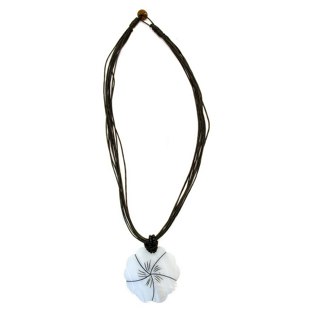Choker Necklace White Flower Black Cord Made With Shell by JOE COOL