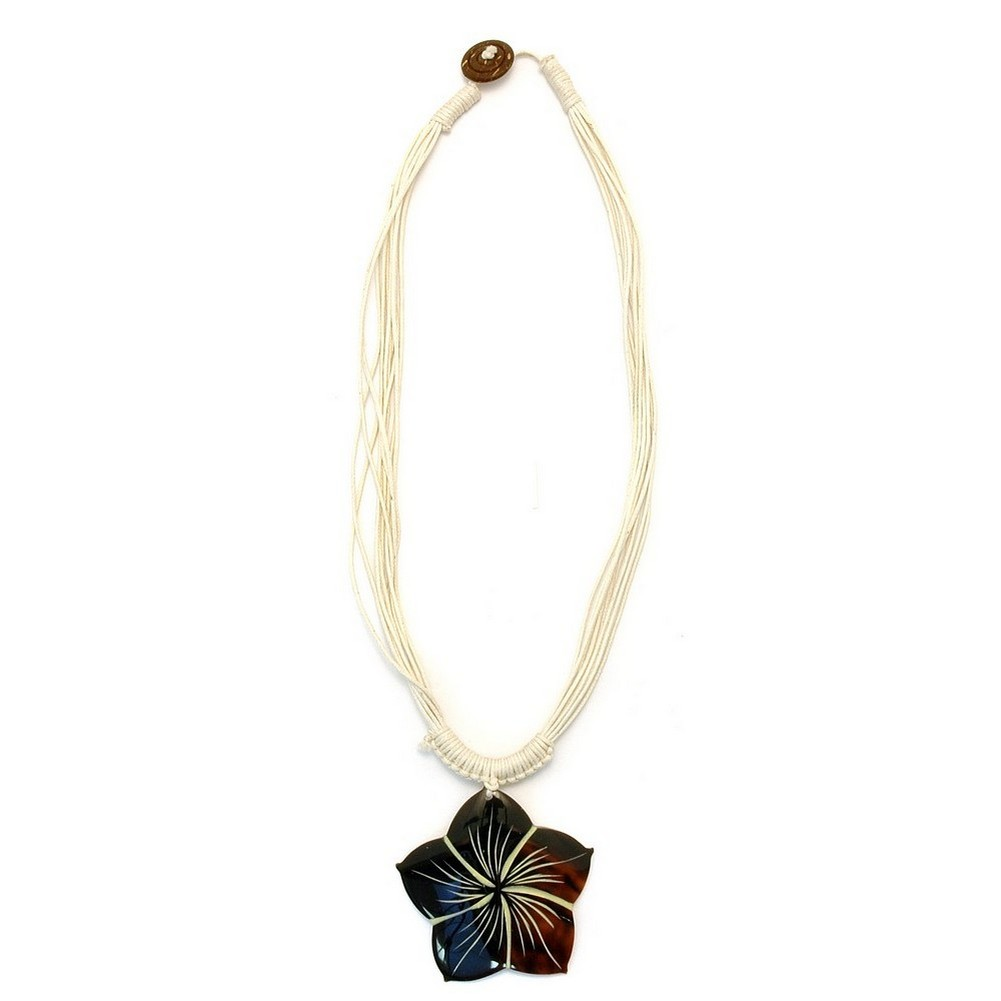 Choker Necklace Brown Flower Natural Cord Made With Shell by JOE COOL