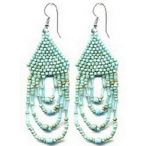 Drop Earring 4 Loop Antique Turquoise Made With Glass by JOE COOL