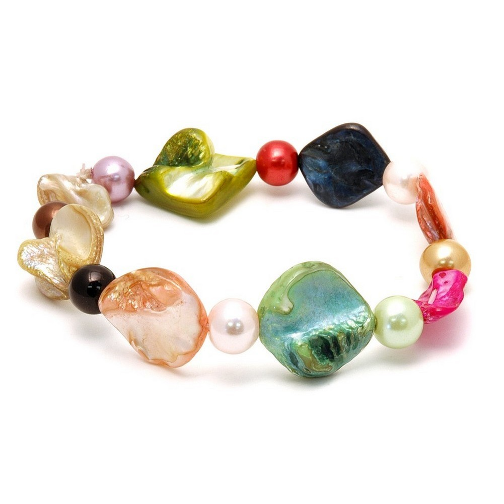 Bracelet Multi-coloured Nugget 18cm Made With Mother Of Pearl by JOE COOL