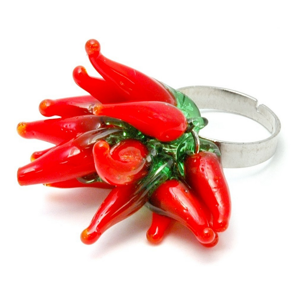 Ring Hot Red Chilli Cluster Made With Glass by JOE COOL