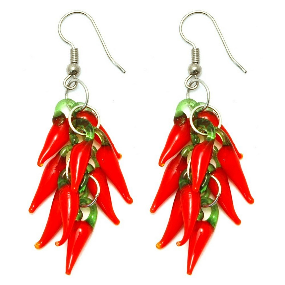 Drop Earring Hot Red Chilli Cluster Made With Glass by JOE COOL
