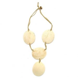 Necklace 4 Oval Natural Colour Made With Coconut by JOE COOL