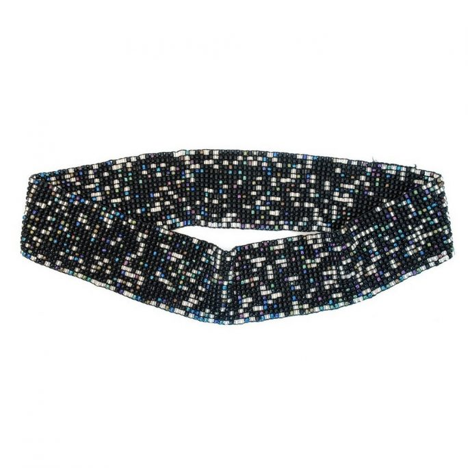Belt 17 Row Stretch Black 72 By 6 Cm Made With Glass by JOE COOL