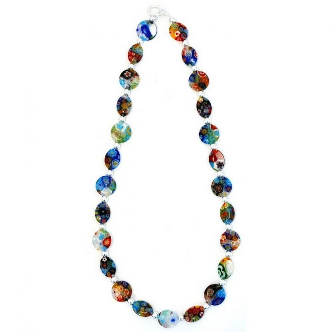 Bead String Necklace Plain Silver Bead Made With Millefiori Glass & Glass by JOE COOL