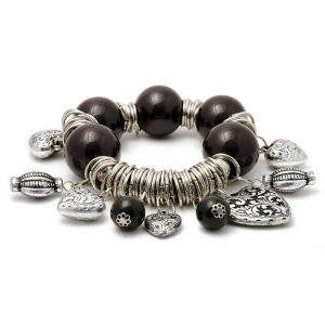 Bracelet Black Beads Made With Resin & Zinc Alloy by JOE COOL