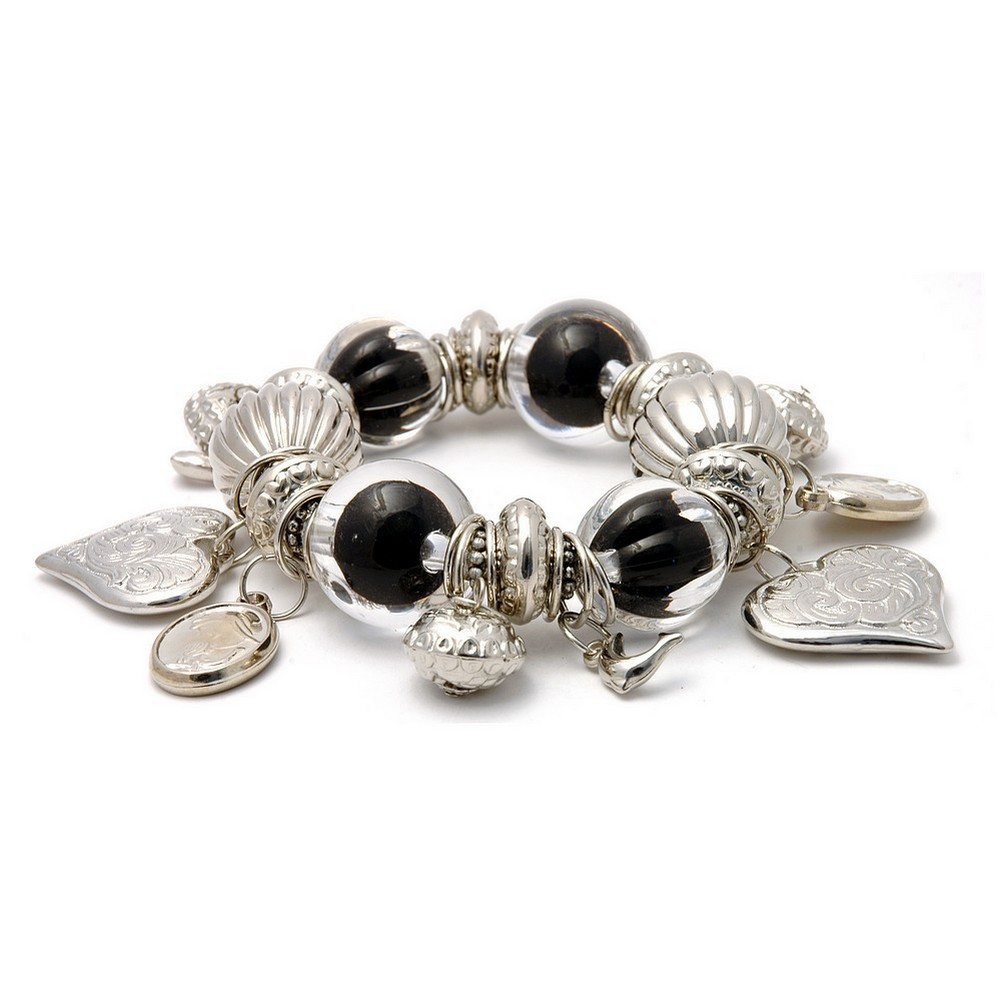 Bracelet Clear & Black Beads Made With Resin & Zinc Alloy by JOE COOL