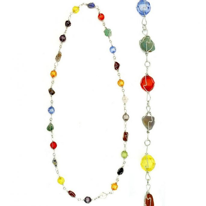 Necklace Wrapped & Chained Mixed Beads Made With Stone & Resin by JOE COOL