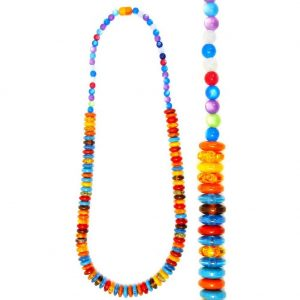 Long Necklace Translucent 15mm Discs Made With Resin by JOE COOL
