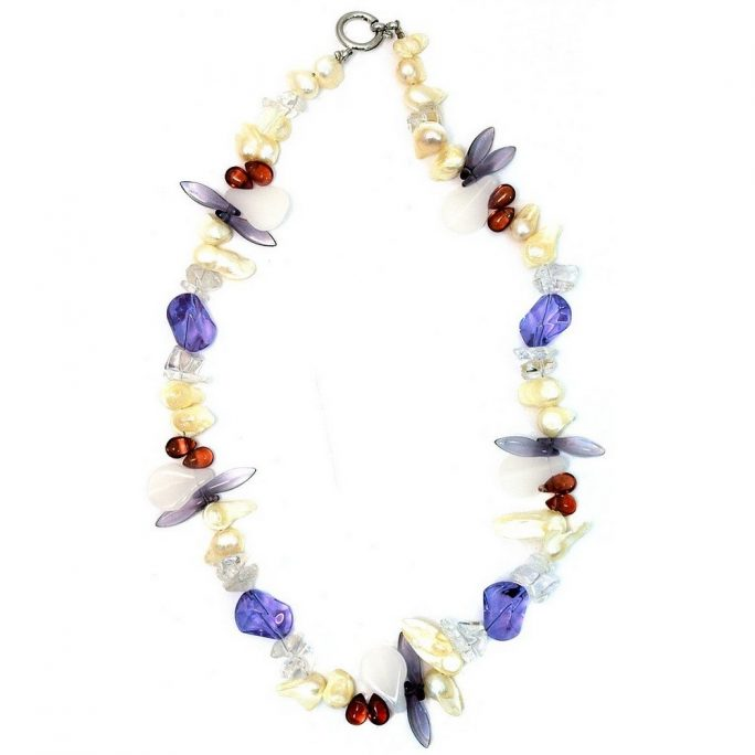 Necklace Crystal 45cm Amethyst Tones Made With Pearl & Quartz Crystal by JOE COOL