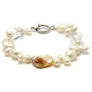 Bracelet Aurora Borealis Made With Mother Of Pearl & Crystal Glass by JOE COOL