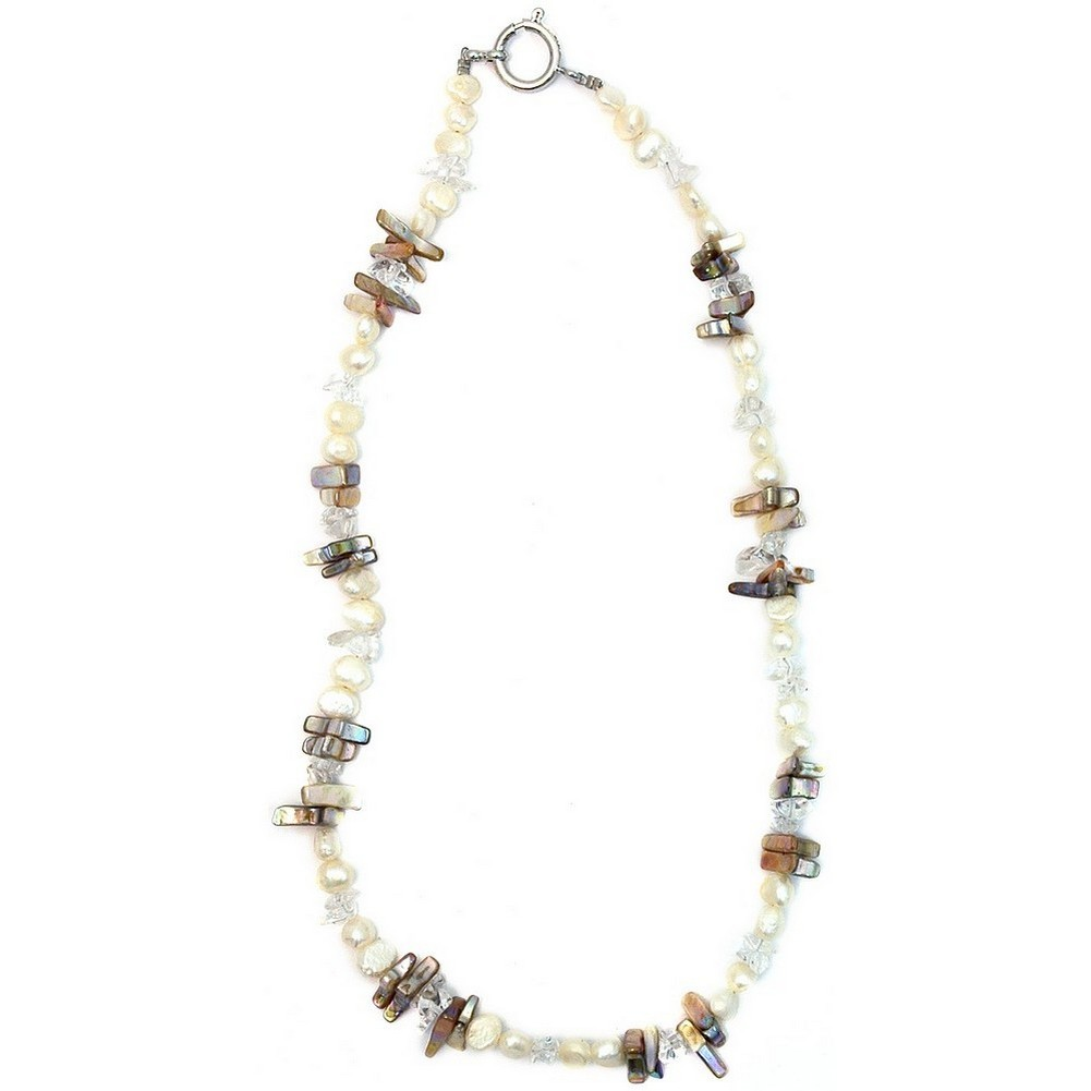 Necklace Aurora Borealis 45cm Made With Mother Of Pearl & Crystal Glass by JOE COOL
