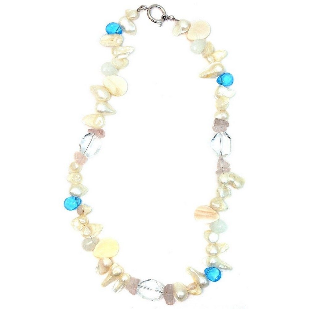 Necklace Crystal & Shells Made With Pearl & Quartz Crystal by JOE COOL