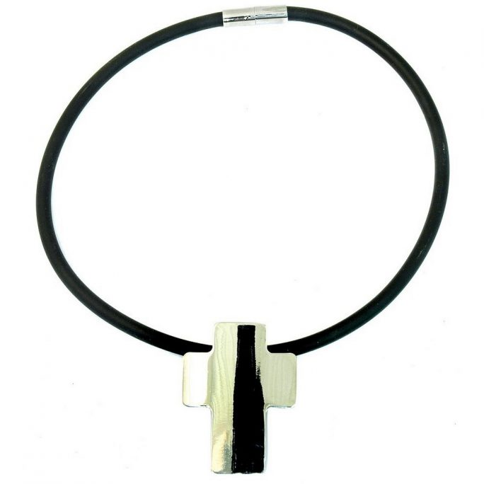 Necklace Magnetic Catch Cross Made With Rubber & Zinc Alloy by JOE COOL