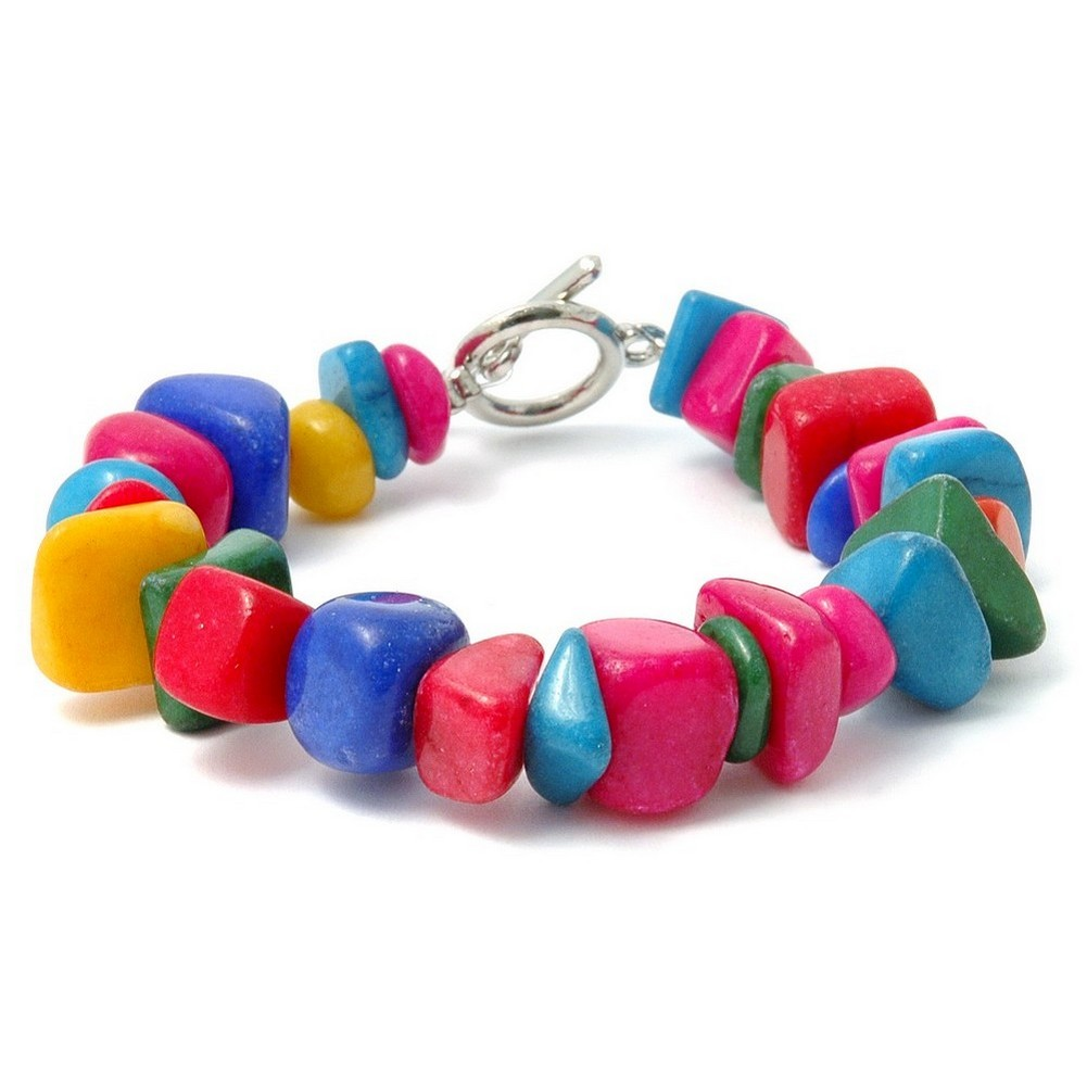 Bracelet Multi-coloured Nuggets Made With Stone by JOE COOL