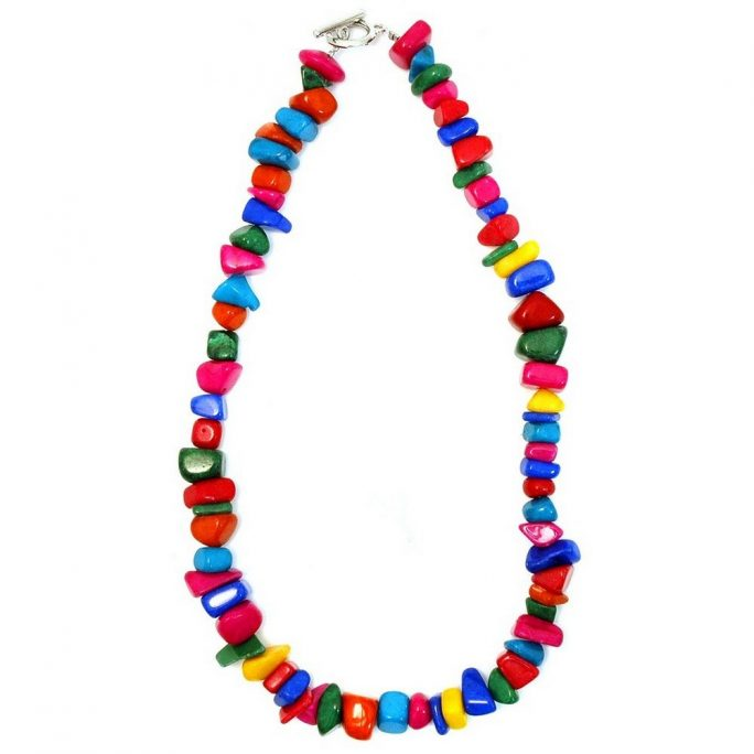 Necklace Multi-coloured Nuggets Made With Stone by JOE COOL
