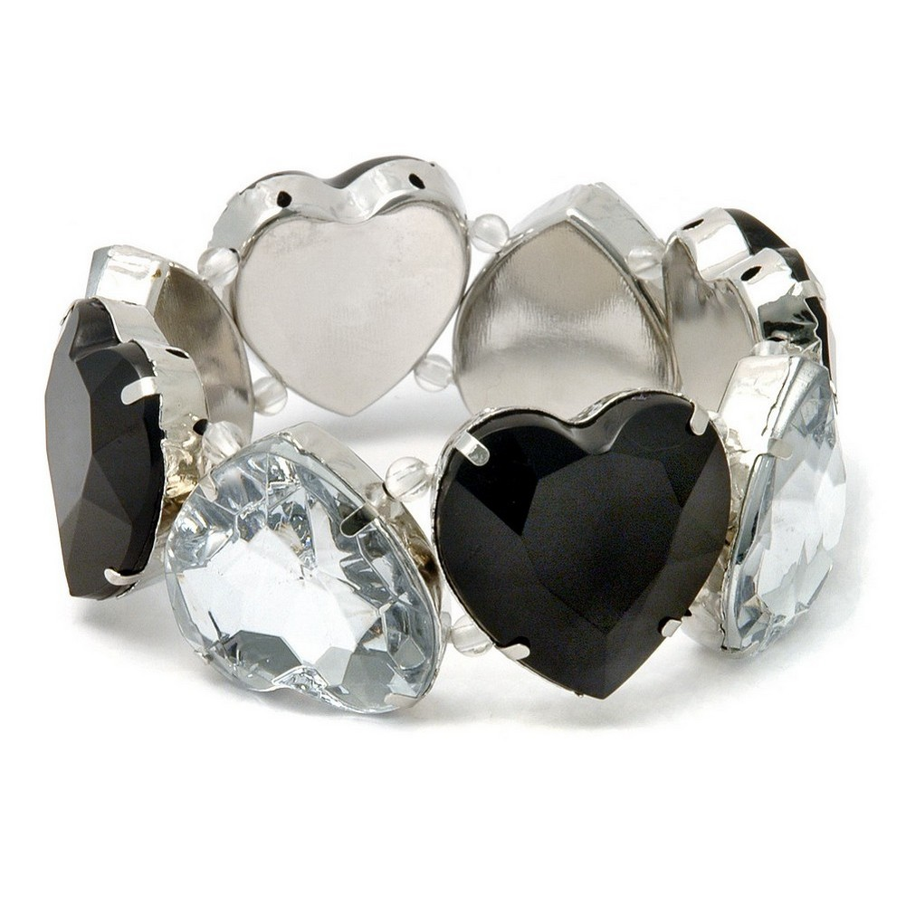Bracelet Heart Black/clear Made With Zinc Alloy & Resin by JOE COOL