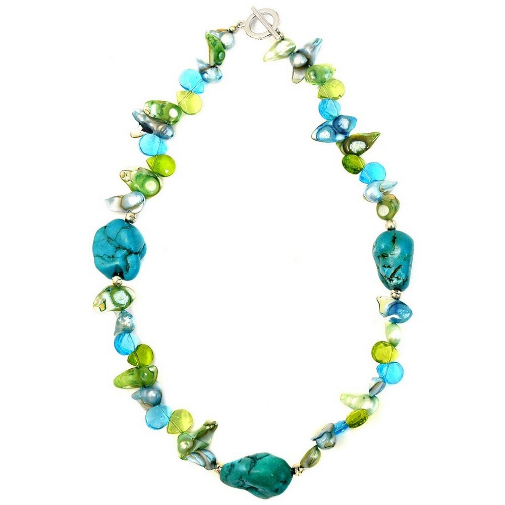 Necklace Mother Of Pearl & Citrine 45cm Made With Faux Turquoise by JOE COOL