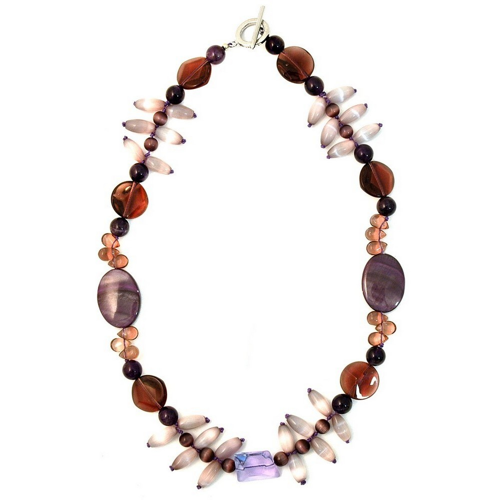 Necklace Cat Eye Rice 45cm Made With Amethyst & Crystal Glass by JOE COOL