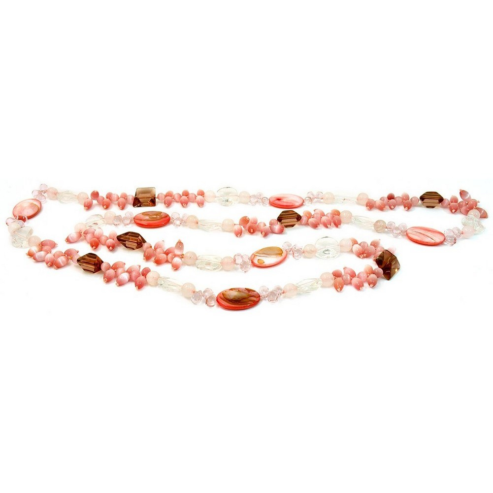 Necklace Rose & Crystal Cateye Rice 120cm Made With Quartz Crystal & Mother Of Pearl by JOE COOL