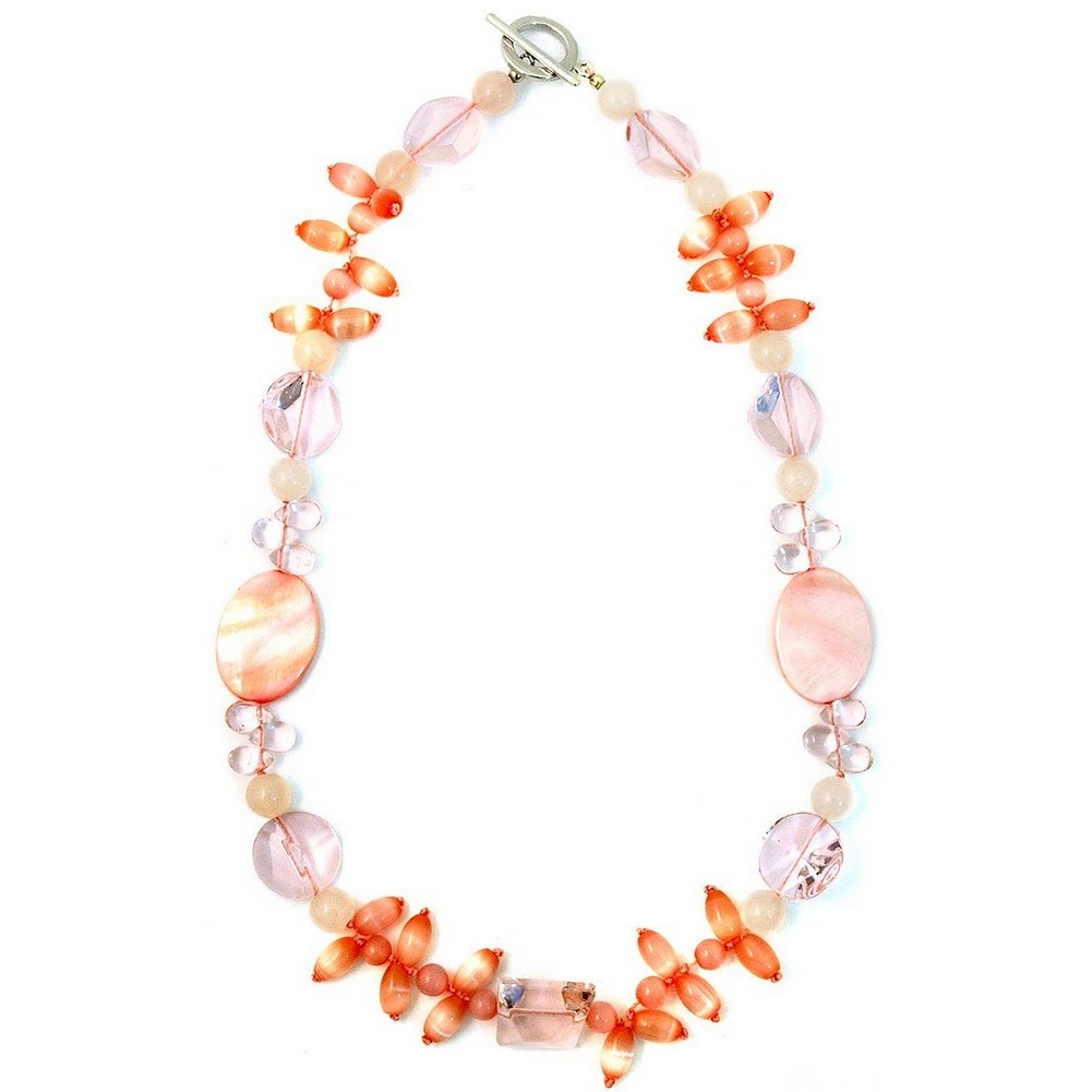Necklace 45cm Rose & Crystal Cateye Rice Made With Quartz Crystal & Mother Of Pearl by JOE COOL