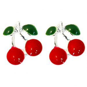 Stud Earring Two Red & Silver Cherries Made With Enamel & Zinc Alloy by JOE COOL