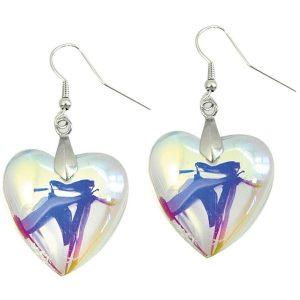 Drop Earring Heart Aurora Borealis Made With Glass by JOE COOL