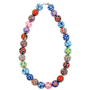 Necklace Multi Floral Beads Made With Resin by JOE COOL