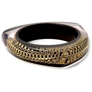 Bangle Black With Gold Curb Made With Resin & Chain by JOE COOL