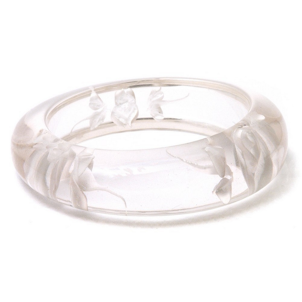 Bangle Hand Carved White Roses Made With Resin by JOE COOL