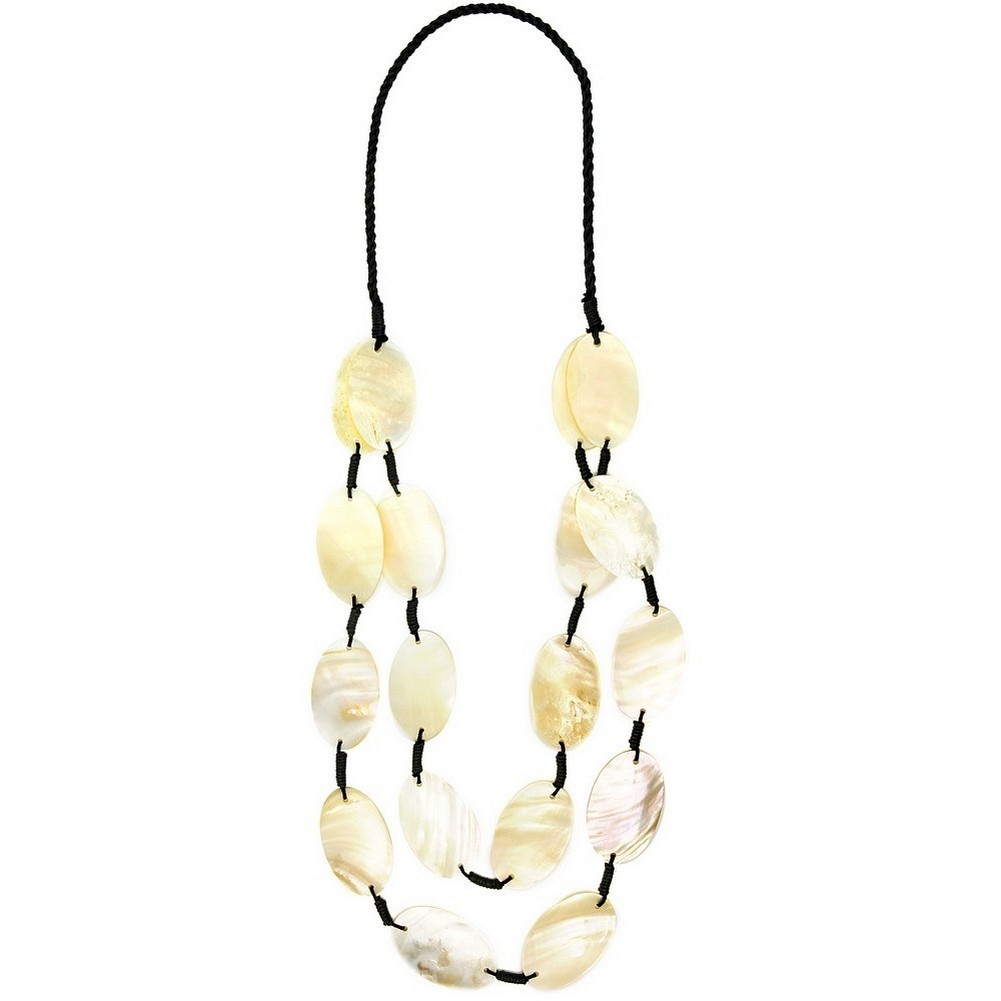 Necklace 2 Row 18 Piece Oval Bk Bead Made With Shell & Cord by JOE COOL