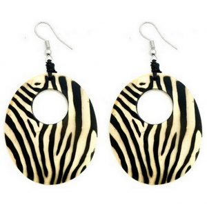 Drop Earring Oval Animal Print Made With Coconut & Suede by JOE COOL