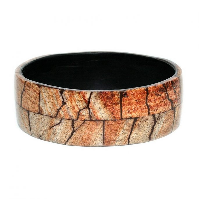 Bangle Natural Crazed 26mm Made With Resin & Stone by JOE COOL