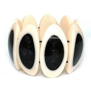 Bracelet Natural Oval Black Shimmer Inlay Made With Resin by JOE COOL