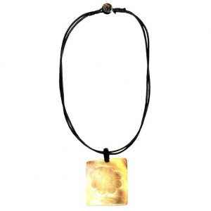Necklace Flower Carved Rectangle 54cm Made With Mother Of Pearl by JOE COOL