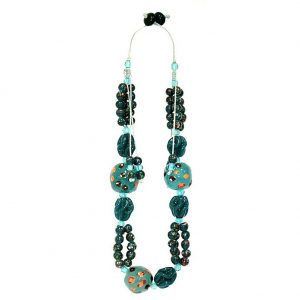 Bead String Necklace Artisan Bead 58cm Made With Glass by JOE COOL