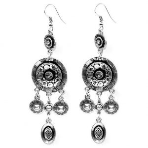 Drop Earring 6 Filigree Parts Made With Zinc Alloy & Crystal Glass by JOE COOL