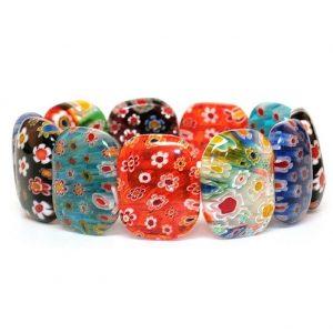Bracelet Oval Bead Made With Millefiori Glass by JOE COOL