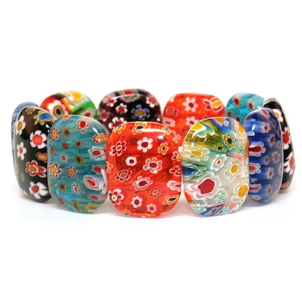 Bracelet Oval Bead Made With Millefiori Glass by JOE COOL