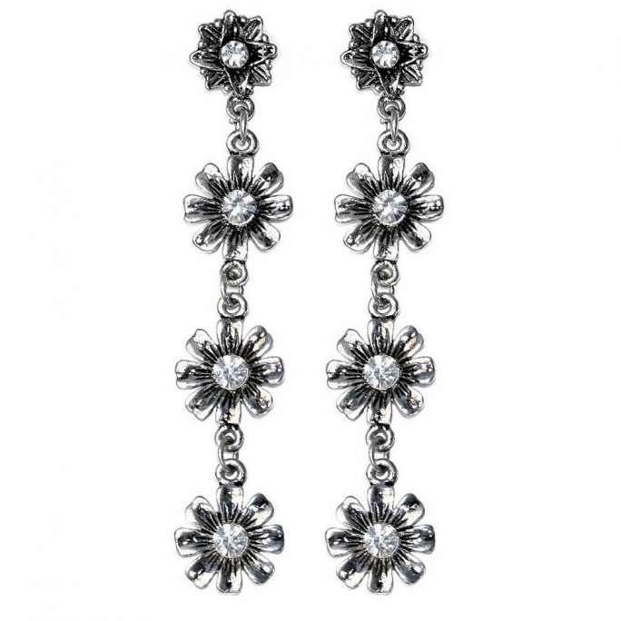 Drop Earring 4 Flowers Made With Zinc Alloy & Crystal Glass by JOE COOL