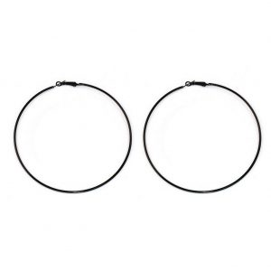 Hoop Earring Black 97mm Made With Iron & Enamel by JOE COOL